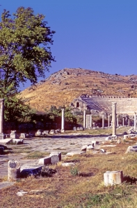 The ruins of the Roman Theater in Ephesus, Turkey. Paul visited here on his Second Missionary Journey and later wrote the epistle Ephesians to the Christians of Ephesus