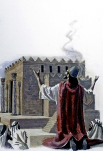 In Solomon's early years as king, when he built the Temple, he was a very godly man, offering a prayer of devotion to dedicate his finished Temple (1 Kings 8:22-61; 2 Chronicles 6:12--7:3).