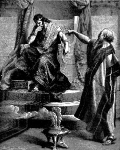 Nathan condemns David because of Bathsheba.