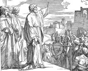 Paul preaches on Mars' Hill.