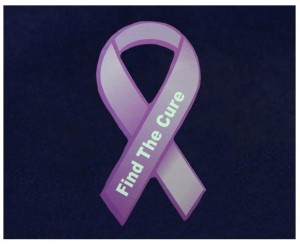 Purple ribbon magnet - $50 donation.These purple ribbon magnets are approximately 8 inches tall. Perfect for the refrigerator or car. Each purple ribbon magnet says Find The Cure.