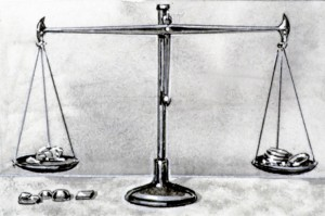 A drawing of balances, or scales, of Bible times. A standard weight was placed on one side, and the object or objects to be weighed were placed on the other side.