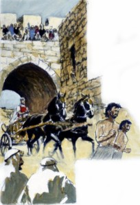 David's son Absalom plotted to rebel against David, seize his father's throne and become king. To win favor with the people, he bought a beautiful chariot and horses and rode through the streets of Jerusalem in great honor (2 Samuel 15:1-6).