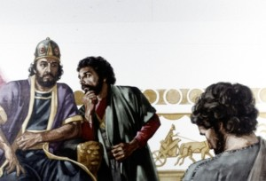 Hushai was a counselor for King David, but when Absalom rebelled against his father David, David asked Hushai to pretend to shift loyalty to Absalom, but act instead as a spy. Absalom accepted Hushai's advice instead of the advice of Ahithophel, so Ahithophel committed suicide (2 Samuel 17:1-14).