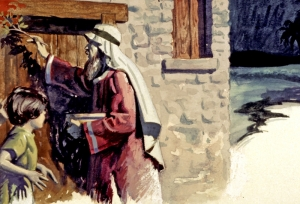 On the first Passover, the Israelites who painted their doorways with blood were passed over when the angel of death came through the land of Egypt (Exodus 11).