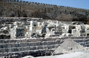 Ruins of the southern wall of the ancient Temple of Jerusalem which date from Herod's time.