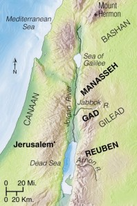 Joshua assigned territory to the tribes of Reuben, Gad, and to the half-tribe of Manasseh on the east side of the Jordan, where they had chosen to remain because of the wonderful livestock country.