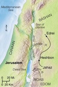 King Sihon refused passage to the Israelites through his land, and he attacked Israel at Jahaz. Israel defeated him, occupying the land between the Arnon and Jabbok Rivers, including the capital city, Heshbon. As they moved north, they defeated King Og of Bashan at Edrei (Deuteronomy 2:30).