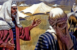 War came to the land in the days of Abram and Lot when five subject kings rebelled against Chedorlaomer, or Kedorlaomer and Lot was captured (Genesis 13:5--14:24). Abraham rallied his men, attacked at night, conquered the enemy, and rescued Lot. In this painting, he is sharing the spoils of battle with Melchizedek, king of Salem.