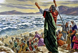 When the Israelites were safely across the Red Sea, crossing on dry land, Moses stretched out his hands and the waters of the sea poured back over the Egyptians and their chariots (Exodus 14:23-31).