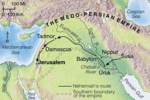 Nehemiah worked in Susa as a personal assistant for the king of the vast Medo-Persian Empire. When he heard that the rebuilding projects in Jerusalem were progressing slowly, he asked the king if he could go there to help his people complete the task of rebuilding their citys walls. The king agreed to let him go; so he left as soon as possible, traveling along much the same route Ezra had taken.
