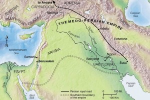 Haggai and Zechariah were present at the rebuilding of the Temple of God during the time of Ezra and Nehemiah, after the return from exile. The Medo-Persian Empire included the lands of Media and Persia, much of the area shown on this map and more. The Jewish exiles were concentrated in the area around Nippur in the Babylonian province. The decree by King Cyrus that allowed the Israelites to return to their homeland and rebuild the Temple was discovered in the palace at Ecbatana.