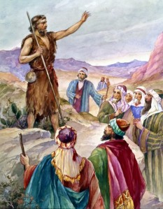 John the Baptist preaches in the wilderness, preparing people for Jesus' coming as the Messiah -- Matthew 3: 1-12.