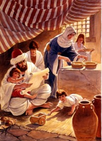 Father reads the Scriptures from a scroll to his family as the mother prepares food to eat.