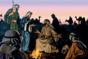 When Jesus was twelve, Mary and Joseph took him to the Passover feast in Jerusalem. But Jesus remained behind to talk with the teachers in the temple. Mary and Joseph searched for him throughout the caravan with which they were traveling, then returned to Jerusalem to find him