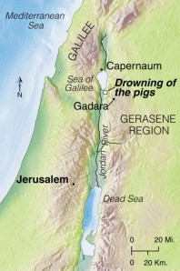 From Capernaum, Jesus and his disciples crossed the Sea of Galilee. A storm blew up unexpectedly, but Jesus calmed it. Landing in the region of the Gerasenes, Jesus sent demons out of a man and into a herd of pigs that plunged over a steep bank into the lake.