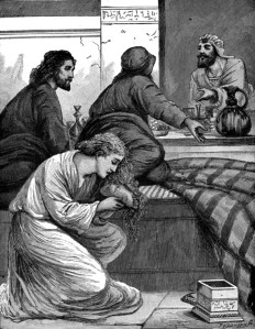 anoints Jesus' feet in the house of Simon The Pharisee