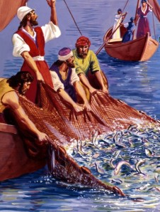 Jesus performs a miracle, helping the disciples catch many fish -- Matthew 4: 13-16; Luke 5: 1-11.
