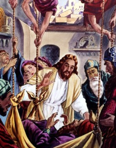 Jesus healed a paralyzed man who was let down to Him through a roof (Matthew 9:1-8; Luke 5:12-26).