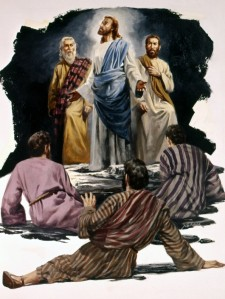 Jesus is transfigured on a mountain. Moses and Elijah join him, while Peter, James and John watch--Matthew 17 1-13; Mark 9 1-13; Luke 9 28-36.
