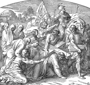 Simon of Cyrene is compelled to carry Jesus' cross
