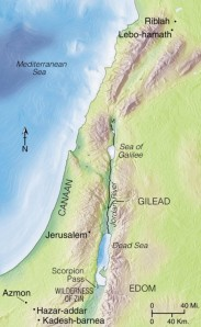 The borders of the Promised Land stretched from the wilderness of Zin and Kadesh-barnea in the south to Lebo-hamath and Riblah in the north, and from the Mediterranean seacoast on the west to the Jordan River on the east. The land of Gilead was also included.
